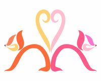 Abstract cats and heart of tails.  Stock Images