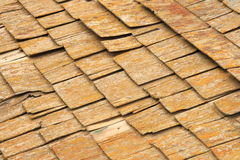 Abstract Cedar Shingles. Abstract detail of old weathered and damaged cedar shingles Stock Photo