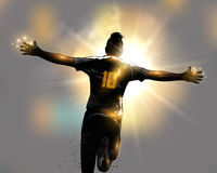 Abstract celebrate running. Abstract soccer player celebrates goal by running Stock Photography