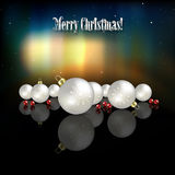 Abstract celebration background with Christmas dec. Orations and aurora borealis stock illustration