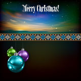 Abstract celebration background with Christmas dec. Orations on dark Royalty Free Stock Images