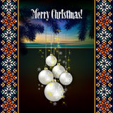 Abstract celebration background with Christmas dec. Orations and pine branch Stock Images