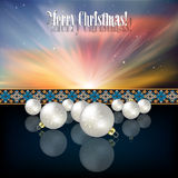 Abstract celebration background with Christmas dec. Orations and snowflakes on blue Royalty Free Stock Photography