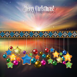 Abstract celebration background with Christmas dec. Orations and stars Stock Photography