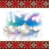 Abstract celebration background with Christmas dec. Abstract celebration background with Christmas pearl decorations and estonian national ornament Stock Photos