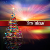 Abstract celebration background with Christmas dec. Abstract celebration background with Christmas tree decorations and stars Royalty Free Stock Image