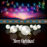 Abstract celebration background with Christmas decorations. Abstract celebration background with Christmas lights and white decorations Royalty Free Stock Photo