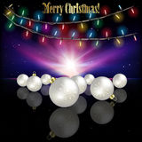 Abstract celebration background with Christmas decorations and s. Abstract celebration background with Christmas lights and white decorations Stock Image