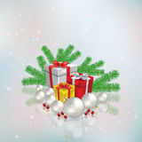 Abstract celebration background with Christmas gifts and decorat Royalty Free Stock Photo