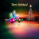 Abstract celebration background with Christmas tre. E and candles Royalty Free Stock Image
