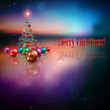 Abstract celebration background with Christmas tre. E and color decorations Royalty Free Stock Photography