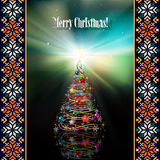 Abstract celebration background with Christmas tre. Celebration background with Christmas tree and national ornament Stock Photography