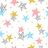 Abstract celebration background with colorful stars. Seamless vector pattern Stock Photos