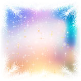 Abstract celebration background with pine branch and snowflakes Stock Photo