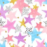 Abstract celebration background with watercolor stars. Colorful vector seamless pattern royalty free illustration