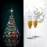 Abstract celebration greeting with Christmas tree  Royalty Free Stock Images