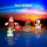 Abstract Celebration Greeting With Santa Claus Stock Photo