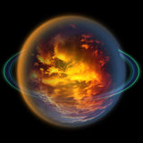 Abstract celestial body with an atmosphere of red and yellow clouds Royalty Free Stock Image
