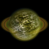 Abstract celestial body with green and black wrinkled surface Stock Images