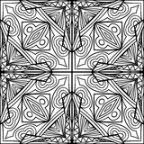 Abstract Celtic Cross Zentangle Style Black And White Ornament. Contrast background with tribal pattern. Fantasy ornament for coloring page. Doodle style graphic Royalty Free Illustration