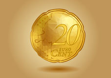 Abstract 20 cent. On golden background Royalty Free Stock Images