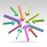 Abstract centered colorful arrows. Pointing into the center over light background Stock Photography