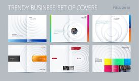 Abstract centerfold brochure paper-cut design style with colourful circles for branding. Business vector presentation. Abstract brochure in paper-cut design stock illustration