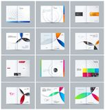 Abstract centerfold brochure paper-cut design style with colourful circles for branding. Business vector presentation. Abstract brochure in paper-cut design Stock Image