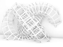 Abstract cg background, white wire-frame knot Royalty Free Stock Images