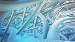 Abstract CGI motion graphics with blue cable stock video footage