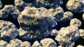 CGI motion graphics with flying asteroids. Abstract CGI motion graphics with flying asteroids Royalty Free Stock Photo