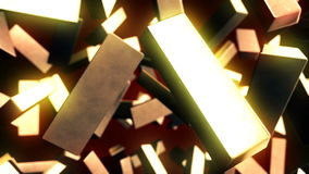 Abstract CGI motion graphics with golden bars stock footage