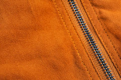 Abstract chamois background with seam and zipper Royalty Free Stock Photography