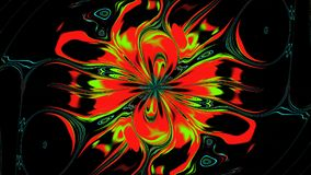 Abstract Changing Flower. The flower continuously changes its shape and bright saturated colors. It rotates slowly and flickering on the dark background