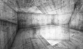 Abstract chaotic concrete interior background, 3d Stock Photography