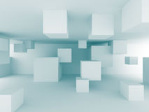 Abstract Chaotic Cubes Construction Design Background. 3d Render Illustration Royalty Free Stock Photography