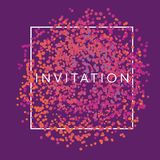 Abstract chaotic dots invitation frame. Violet tribal design element for header, card, poster, cover and other web and print design projects Vector Illustration