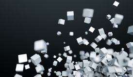 Abstract Chaotic Flying Cubes. 3D Rendering Of Abstract Chaotic Flying Cubes With Soft Focus Background Stock Photos