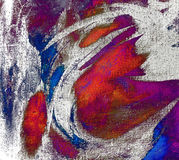 Abstract chaotic painting by oil on canvas,  illustration, backg. Round Royalty Free Stock Photos