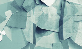 Abstract chaotic polygonal fragments on concrete wall Stock Photo