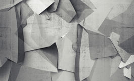 Abstract chaotic polygonal fragments on gray concrete wall. Background. 3d illustration Royalty Free Stock Images