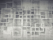 Abstract chaotic square cells structure on concrete wall Stock Photography
