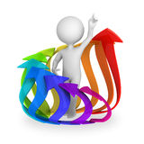 Abstract character inside circle of colorful arrows. Abstract character surrounded with circle of rising arrows. 3d render  on white background Stock Photos