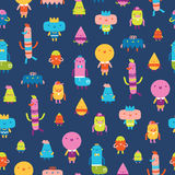 Abstract characters vector seamless pattern on blue background Stock Images
