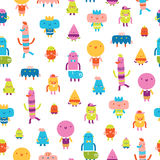 Abstract characters vector seamless pattern on white background Royalty Free Stock Images
