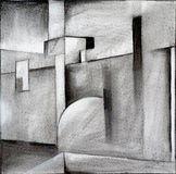 Abstract charcoal drawing. An abstract charcoal drawing, suggestive of modernist architecture Stock Photography