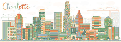 Abstract Charlotte Skyline with Color Buildings. Royalty Free Stock Image