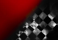 Abstract check patterned background. Abstract black and white check pattern on a red background with copy space Stock Image