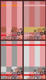Abstract Check Retro Background Set. Set a backgrounds with different colour variations in a strip with flowers Royalty Free Stock Photo