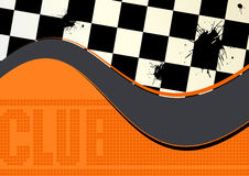 Abstract Checkered Background. An abstract illustrated background with word club along a checkered surface design and waves in gray and orange color Stock Images